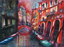 Venedig, Aquarellmalerei, Fenster, Häuser