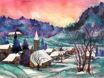 Schneelandschaft, Winteraquarell, Winter, Dorf