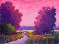 Weg, Landschaft, Feld, Pastellmalerei