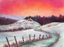Winterlandschaft, Dorf, Pastellmalerei, Tanne