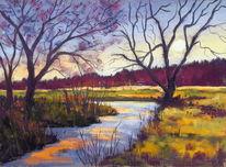 Kreide, Landschaft, Abendstimmung, Baum