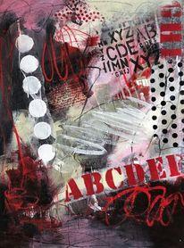 Collage, Abstrakte malerei, Mischtechnik, Rot