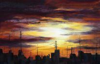 Abendstimmung, Sonnenuntergang, Pastellmalerei, Stadt