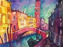 Aquarellmalerei, Stadt, Architektur, Venedig