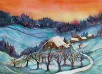 Schnee, Aquarellmalerei, Winter, Emmental