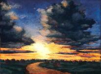Pastellmalerei, Abendstimmung, Kreide, Landschaft