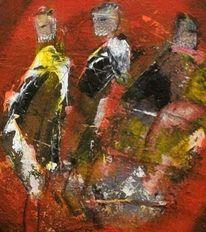 Gelb, Rot schwarz, Figurativ, Acrylmalerei