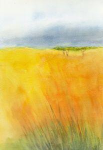 Gelb, Aquarellmalerei, Landschaft, Aquarell
