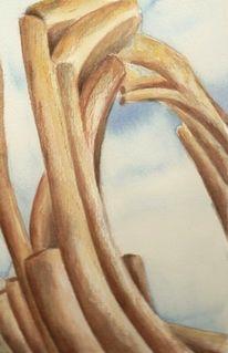 Holz, Aquarellmalerei, Aquarell, Roots