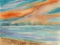 Aquarellmalerei, Wolken, Landschaft, Wasser