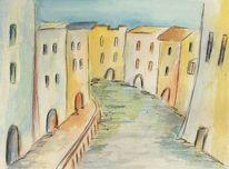 Kanal, Aquarellmalerei, Häuser, Wasser