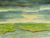 Wolken, Aquarellmalerei, Landschaft, Aquarell