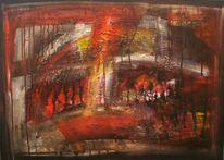 Abstrakt, Anfang, Acrylmalerei, Feuer