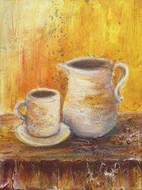 Stillleben, Kaffee, Tasse, Acrylmalerei