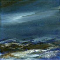 Landschaft, Weiß, Blau, Acrylmalerei