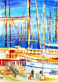 Aquarellmalerei, Hafen, Landschaft, Schiff
