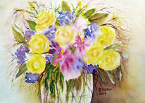 Aquarellmalerei, Blumenstrauß, Stillleben, Aquarell