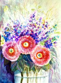 Bumenmalerei, Aquarellmalerei, Stillleben, Blumenstrauß