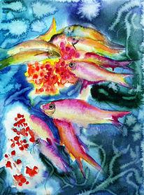 Meer, Riff, Tiere, Aquarellmalerei