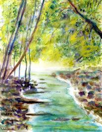 Wasser, Baum, Stein, Aquarellmalerei