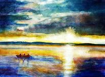 Fischer, Landschaft, Natur, Aquarellmalerei