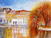 Aquarellmalerei, Landschaft, Architektur, Spiegelung
