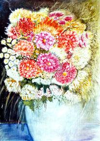 Blumenmalerei, Blumenstrauß, Aquarellmalerei, Stillleben