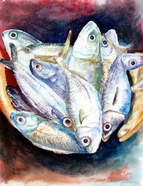 Stillleben, Tiere, Fisch, Aquarellmalerei