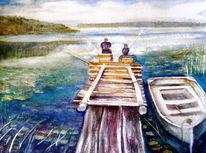 Aquarellmalerei, Landscheften, Natur, Boot