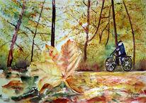 Fahrrad, Herbst blätter, Aquarellmalerei, Baum