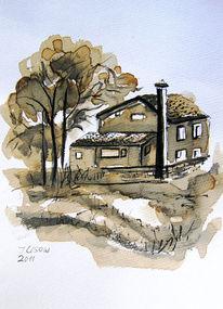 Zeichnung Natur Landschaft Architektur