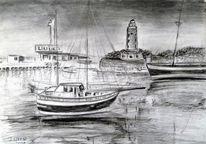 Zeichnung, Landschaft, Boot, Architektur