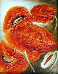 Blumenmalerei, Acrylmalerei, Mohnblumen, Malerei