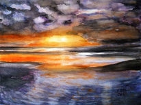 Wasser, Sonnenuntergang, Meer, Wolken