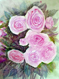 Stillleben, Blumenmalerei, Aquarellmalerei, Rose