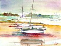 Boot, See, Aquarellmalerei, Landschaft