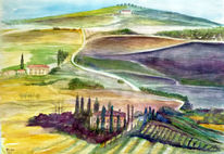Natur, Italien, Toskana, Aquarellmalerei