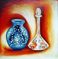 Stillleben, Vase, Karaffe, Acrylmalerei