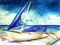 Boot, Aquarellmalerei, Landschaft, Natur