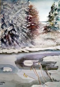 Landschaft, Natur, Winter, Aquarellmalerei