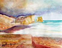 Felsen, Landschaft, Aquarellmalerei, Natur