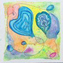 Herz, Abstrakt, Zeichnung, Aquarellfarben