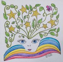 Zeichnung, Gekritzel, Sternenkind, Farben