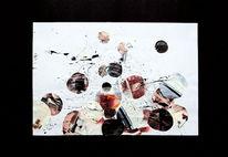 Spritztechnik, Rot schwarz, Collage, Gouachemalerei