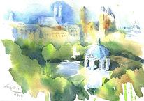 Aquarellmalerei, Tempel, Hofgarten, Theatinerkirche