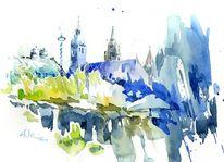 München, Aquarellmalerei, Viktualienmarkt, Aquarell