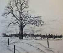 Winterlandschaft, Kohlezeichnung, Schnee, Landschaft