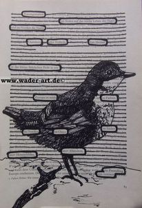 Grafik, Hidden poetry, Buchseite, Vogel