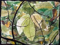 Blätter, Aquarellmalerei, Natur, Herbst