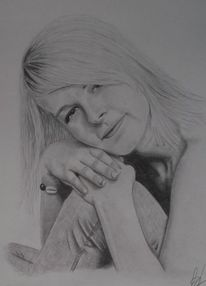 Zeichnung, Frau, Portrait, Bleistiftzeichnung